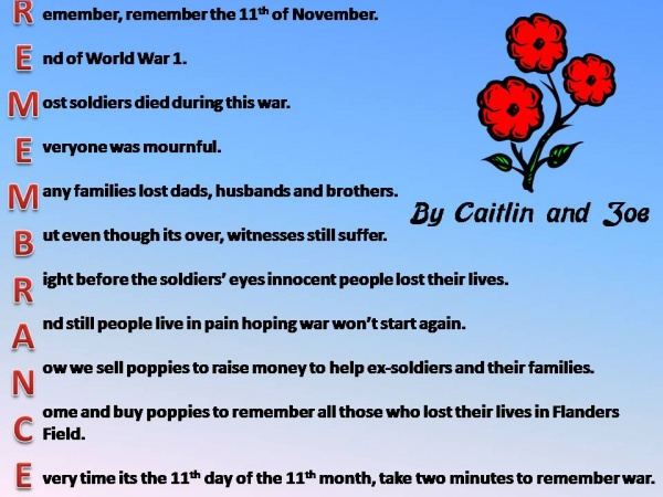 Remembrance Day Primary 7 Poems Eastertounprimarylearninglog