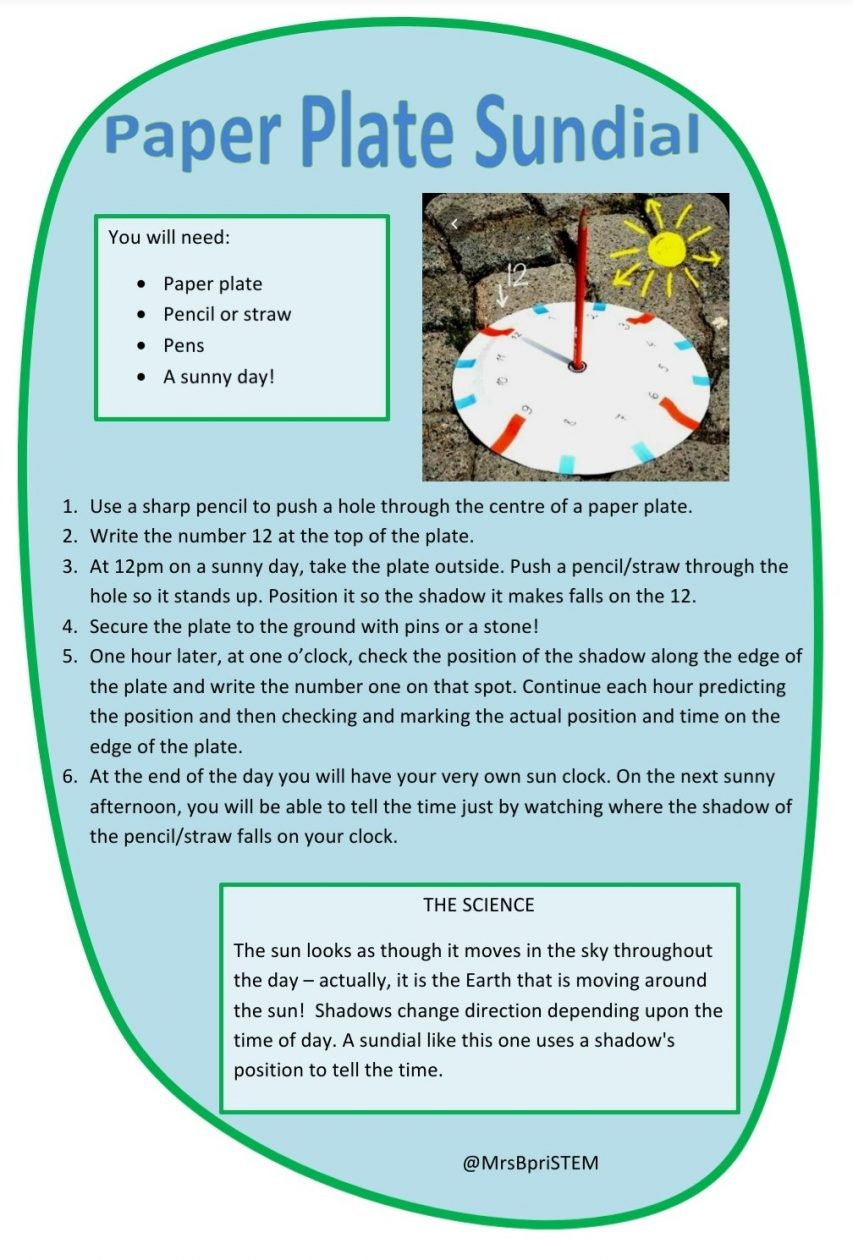 Paper Plate Sundial Instructions